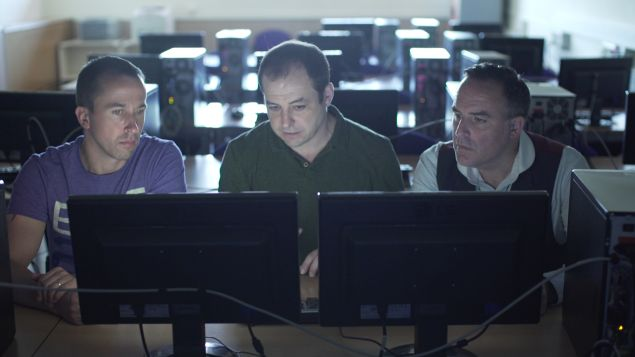 Dr Pablo Gervás from the Complutense University of Madrid talks Benjamin Till and Nathan Taylor through PropperWryter, the narrative generation tool used in 'Beyond the Fence.' (Photo: Sky Arts TV)
