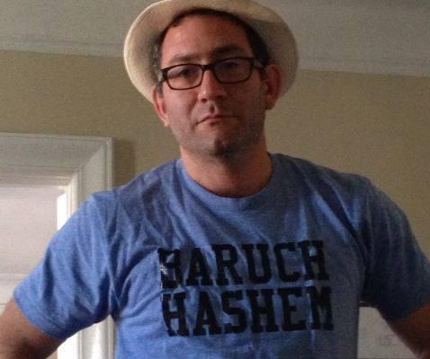 Prof. Schreier in a t-shirt that reads 'Baruch Hashem.' (Facebook)