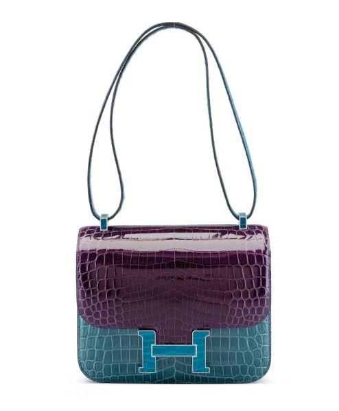 Hermes 23cm Shiny Amethyst, Bleu Izmir & Bleu Jean Nilo Crocodile Constance Bag with Palladium Hardware Estumate $30,000- $40,000