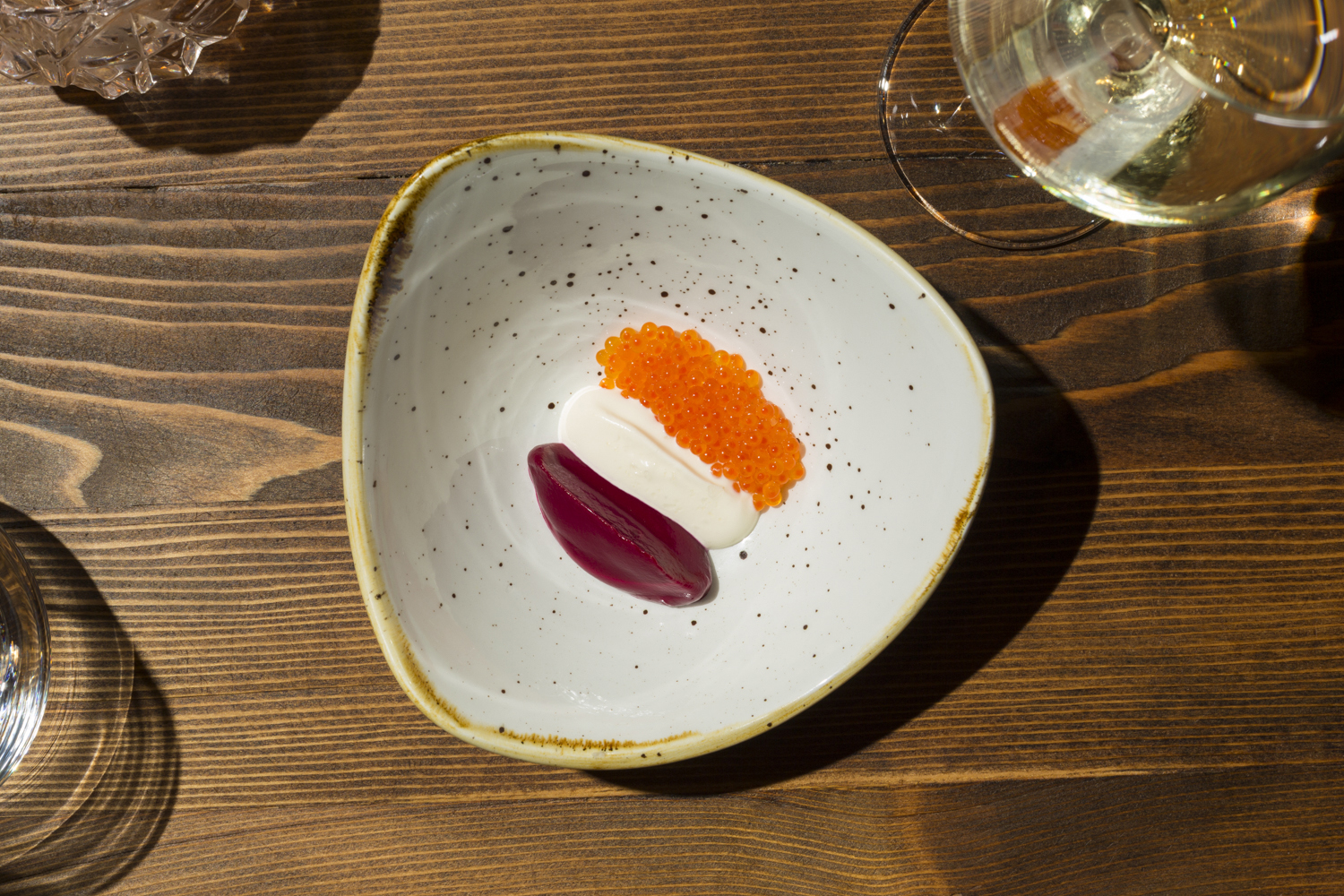 Borscht with beets, trout Roe and raw cream. (Photo: Melissa Goodwin for Observer)