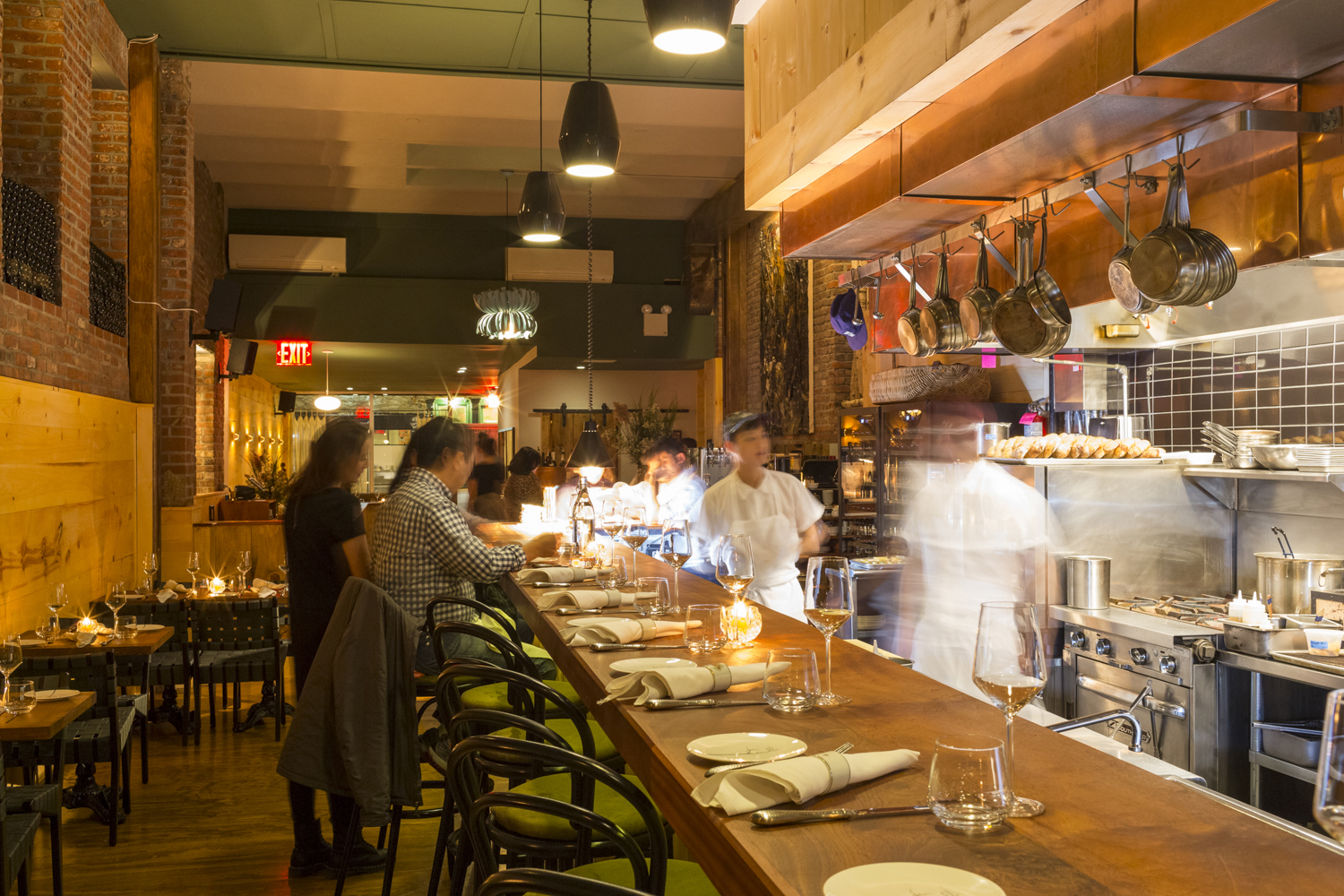 The open kitchen and dining bar at Lowlife, 178 Stanton Street, NY, NY 10002 PHOTO: Melissa Goodwin for Observer