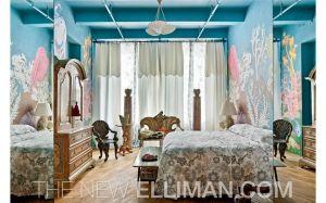 Ms. Deyn's former seashell-themed bedroom. (Douglass Elliman)