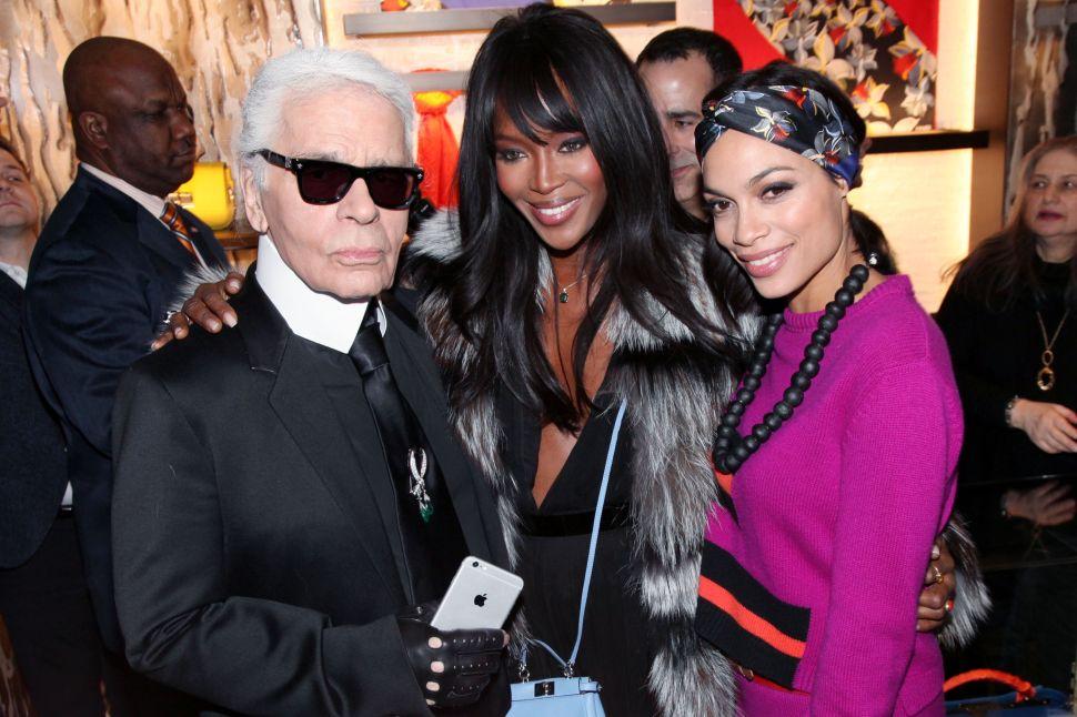 Karl Lagerfeld, Naomi Campbell, Rosario Dawson (Photo: Patrick McMullan).