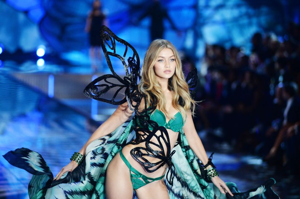 Gigi Hadid models in the Victoria's Secret runway show (Photo: Patrick McMullan).