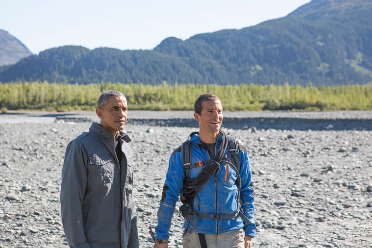 "RUNNING WILD WITH BEAR GRYLLS -- ""President Obama"" Episode 209 -- Pictured: (l-r) President Barack Obama, Bear Grylls -- (Photo by: Delbert Shoopman/NBC)"