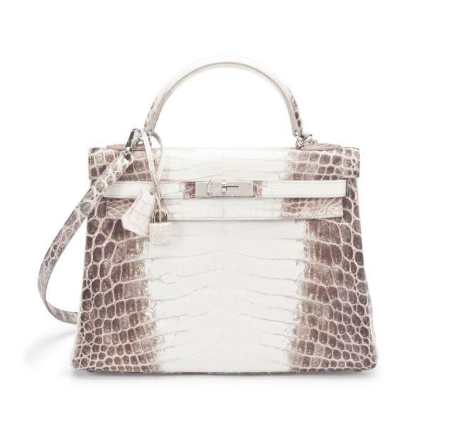 Hermès 32cm Matte Himalaya Nilo Crocodile Retourne Kelly with Palladium Hardware