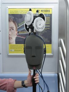 Capturing 3D sound on the L train. (Photo: Specular).