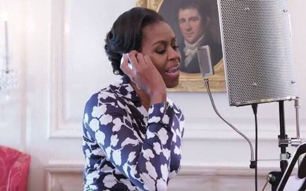 Turns out FLOTUS can bust a rhyme. (Photo: Twitter)