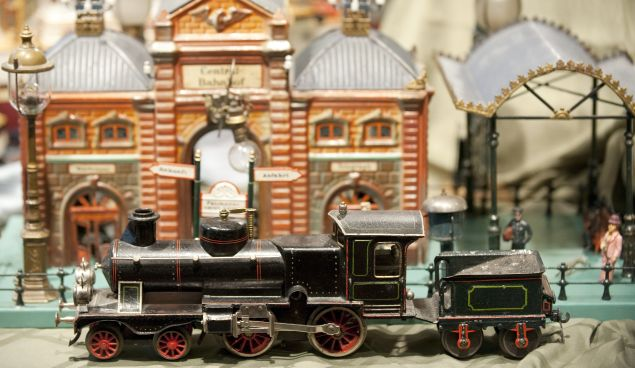 A toy train is on display as part of The Jerni Collection of Toys and Toy Trains, (DON EMMERT/AFP/Getty Images)