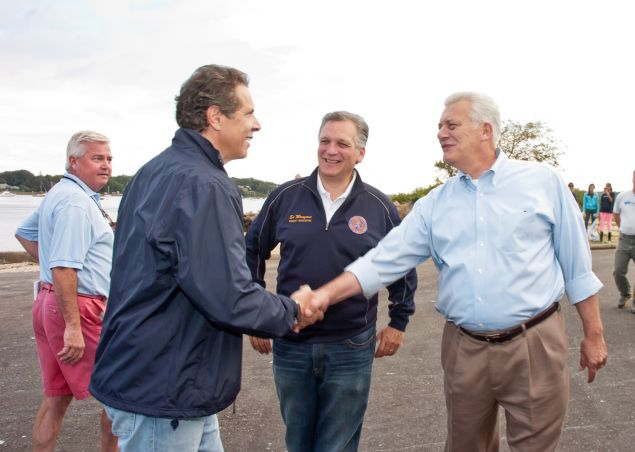 Gov. Andrew Cuomo, left, with Nassau County Executive Edward Mangano, center, and Oyster Bay Town Supervisor John Venditto (Photo: Steven Henry for Getty Images)