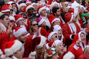 SantaCon New York goes wild in December 2014 (DON EMMERT/AFP/Getty Images)