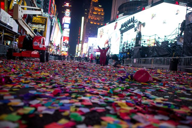 New Year's in Times Square. (Photo: Andrew Theodorakis for Getty Images)