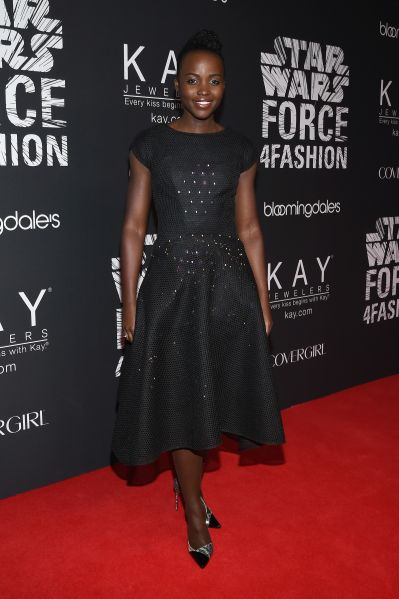 "NEW YORK, NY - DECEMBER 02: Actress Lupita Nyong'o attends the Star Wars ""Force 4 Fashion"" Event on Dec. 2 at the Skylight Modern in NYC. Top designers showcased bespoke looks inspired by characters from Star Wars: The Force Awakens that will be auctioned off for Bloomingdale's holiday charity. (Photo by Larry Busacca/Getty Images for Disney Consumer Productsfor Disney)"
