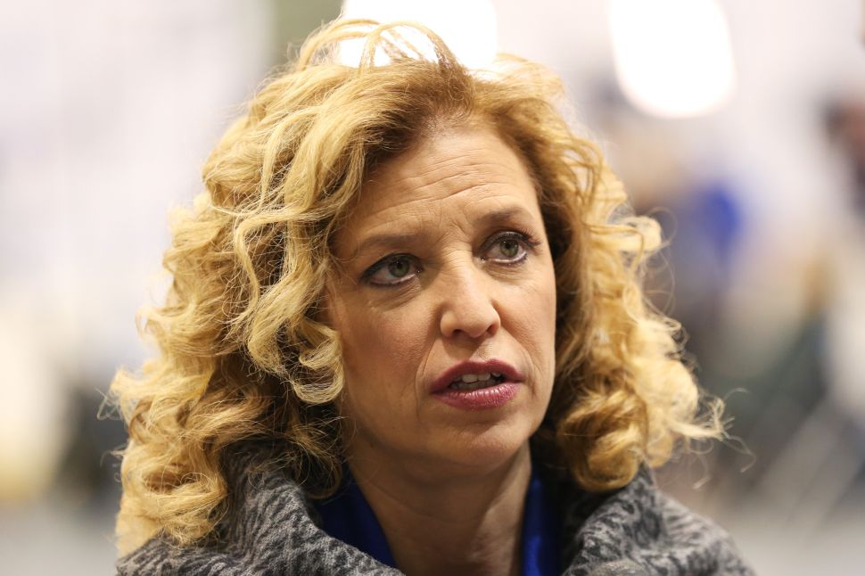 MANCHESTER, NH - DECEMBER 19: U.S. Representative Debbie Wasserman Schultz (D-FL 23rd District) and chair of the Democratic National Committee (DNC) speaks to a reporter before the democratic debate on December 19, 2015 in Manchester, New Hampshire.