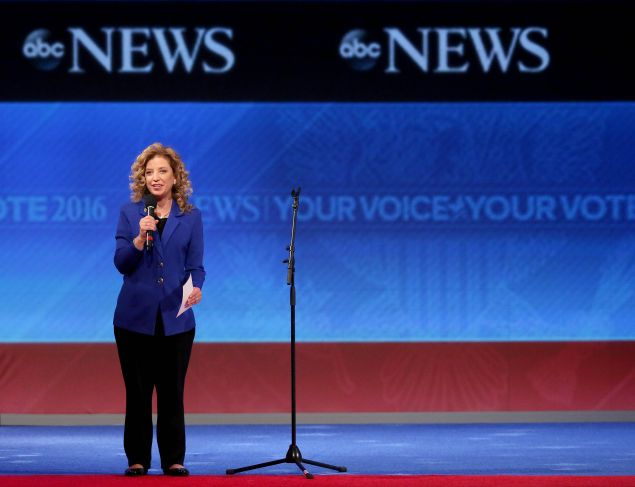 MANCHESTER, NH - DECEMBER 19: Democratic National Committee Chair Debbie Wasserman Schultz speaks to the crowd prior to the Democratic debate at Saint Anselm College December 19, 2015 in Manchester, New Hampshire. This is the third Democratic debate featuring Democratic candidates Hillary Clinton, Bernie Sanders and Martin O'Malley. (Photo by Andrew Burton/Getty Images)