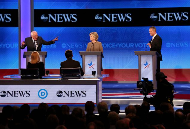 The three Democratic candidates for president. (Photo: Andrew Burton for Getty Images)