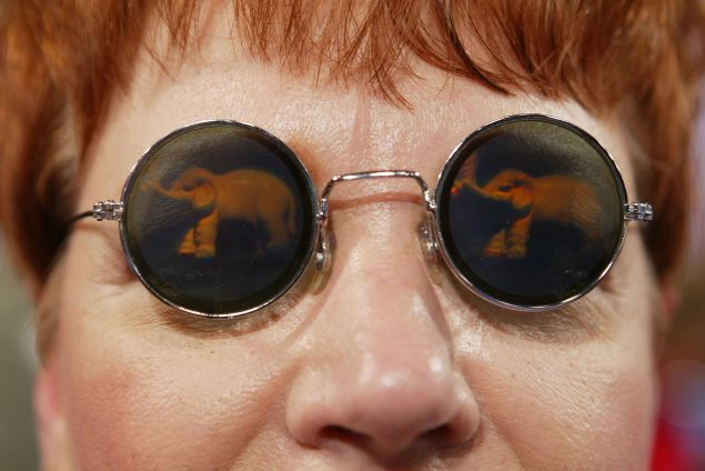 NEW YORK - AUGUST 31: A delegate wears glasses featuring an elephant, the symbol of the Republican party, on the convention floor during the opening of night two of the Republican National Convention August 31, 2004 at Madison Square Garden in New York City. (Photo by Justin Sullivan/Getty Images)