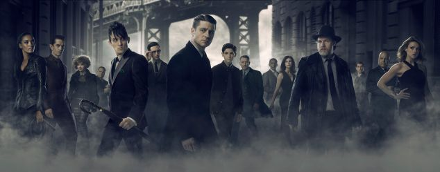GOTHAM: L-R: Jessica Lucas as Tabitha Galavan, James Frain as Theo Galavan, Camren Bicondova as Selina, Drew Powell as Butch Gilzean, Robin Lord Taylor as Penguin, Cory Michael Smith as Nygma, Benjamin McKenzie as Bullock, David Mazouz as Bruce, Sean Pertwee as Alfred, Chris Chalk as Lucius, Morena Baccarin as Dr. Thomkins, Benjamin Mckenzie as Gordon, Nicholas D'Agosto as Harvey Dent, Michael Chiklis as Captain Barnes and Erin Richards as Barbara. GOTHAM premieres Monday, Sept. 28 (8:00-9:00 PM ET/PT) on FOX. ©2015 Fox Broadcasting Co. Cr: Mark Seliger/FOX