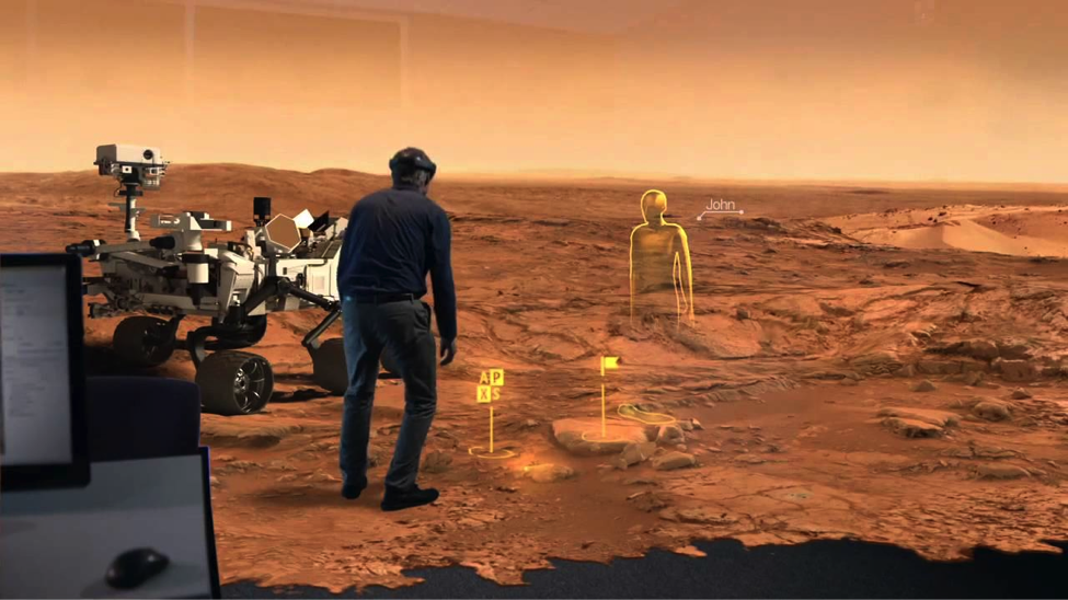Artist Rendering of HoloLens being used for Mars research (Credit: NASA Jet Propulsion Laboratory)