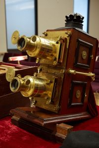 Terry Borton's mahogany and brass magic lantern dates to the 1890s. (Harry Zernike for the Observer.)
