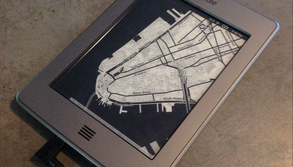 A Kindle turned to a ReKindle, by Ramsey Nasser. Maps from Stamen Design's Toner project. (Photo: Ramsey Nasser)