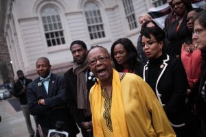 Bertha Lewis, who has assailed the de Blasio administration over MWBE contracts, outside City Hall.