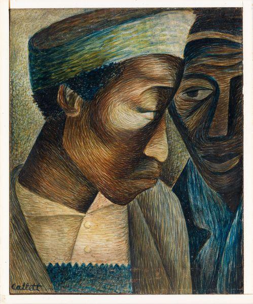 Elizabeth Catlett, Friends, tempera on paper, mounted to masonite board, 1944