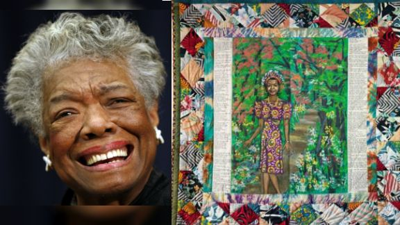 Maya Angelou shown with the Faith Rangold quilt that sold to the Crystal Bridges Museum of Art in Bentonville, Ark. (Courtesy Swann Galleries)