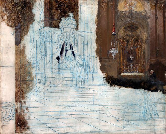 Adolph Menzel (German, 1815–1905) Altar in a Baroque Church ca. 1880–1890. (Photo: Staatliche Museen zu Berlin, Nationalgalerie)