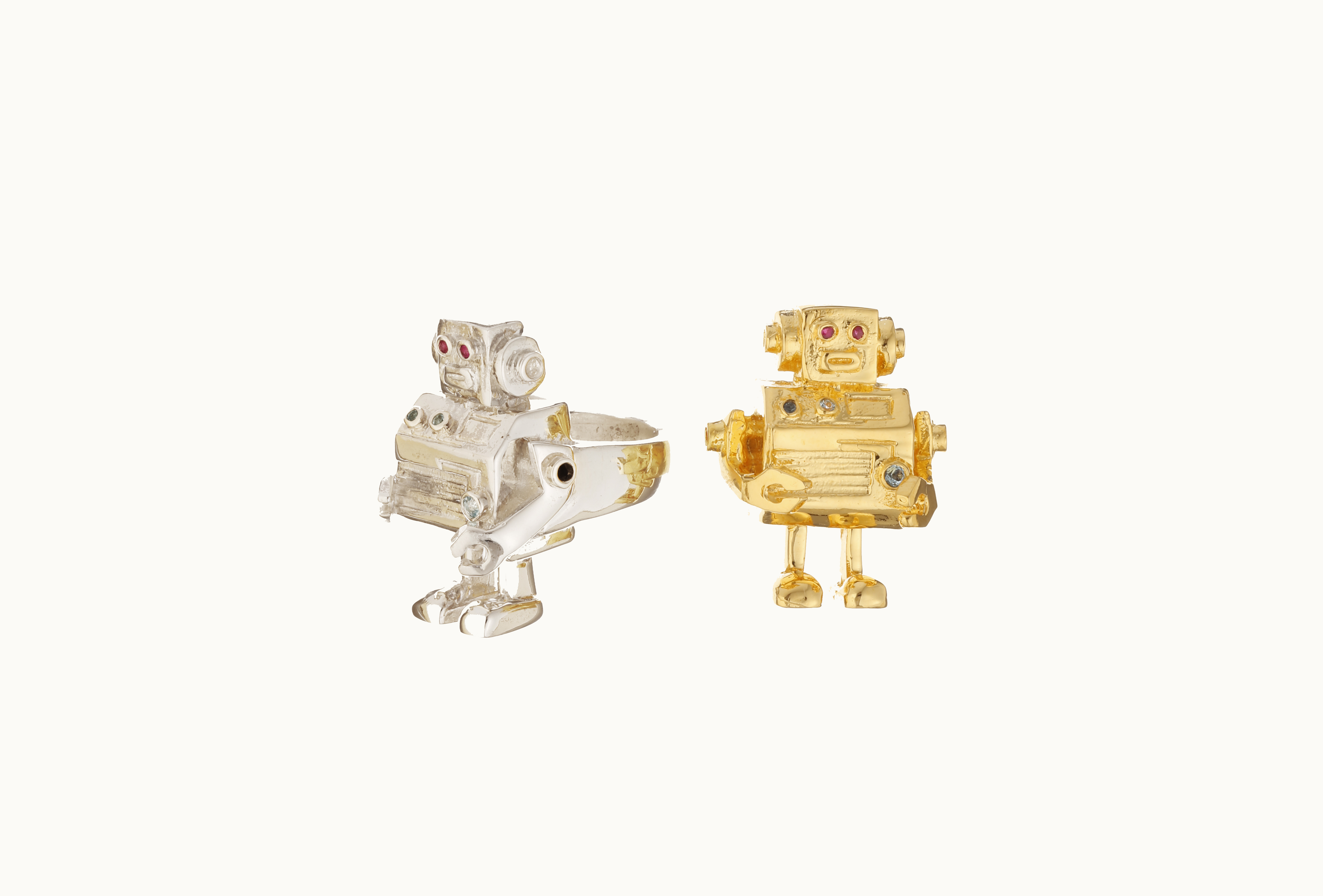 Robot Rings - Silver, Gold, Ruby,Diamond