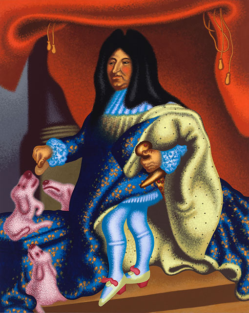 Peter Saul, Louis XIV Feeds His Pets, 2015. (Photo: Courtesy of Mary Boone Gallery)