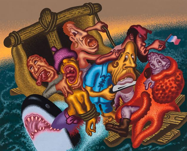 Peter Saul, Last Moments on the Raft of the Medusa, 2015. (Photo: Courtesy of Mary Boone Gallery)