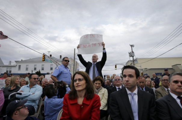 Keady protesting the Christie administration's handling of Hurricane Sandy recovery efforts in 2014