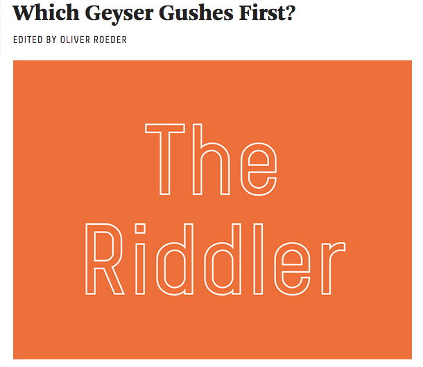 A screenshot of FiveThirtyEight's new weekly puzzle, The Riddler.