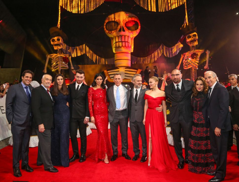 President Motion Picture Group, MGM Jonathan Glickman, Producers Michael G. Wilson, Monica Bellucci, Sam Smith, Stephanie Sigman, Daniel Craig, Sam Mendes, Léa Seydoux, Dave Bautista, Barbara Broccoli and Chairman and CEO of MGM Gary Barber (Photo: Belvedere).
