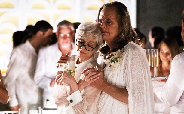 Shelly (Judith Light) and Maura (Jeffrey Tambor) reunite in Transparent's season premiere. (Amazon)