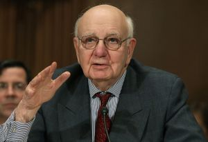 WASHINGTON - FEBRUARY 02: Paul Volcker, chairman of the President's Economic Recovery Advisory Board, participates in a Senate Banking, Housing and Urban Affairs Committee hearing on Capitol Hill on February 2, 2010 in Washington, DC. The committee was hearing testimony on prohibiting high risk investment activities by banks and holding Companies. (Photo by Mark Wilson/Getty Images) *** Local Caption *** Paul Volcker
