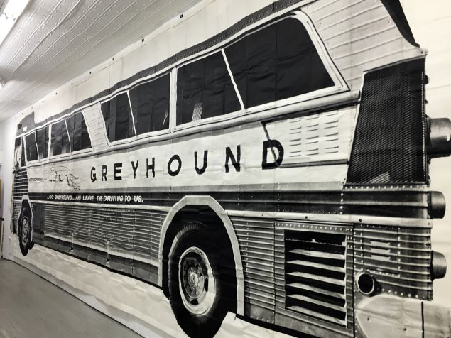 "Mason Williams Bus. 1967. (Detail). Installation view from Alden Projects show, ""Double Standard: Mason Williams & Ed Ruscha 1956 - 71"""