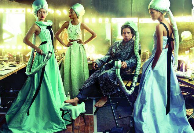 Gigi Hadid in Oscar de la Renta, Jourdan Dunn in Carolina Herrera, Ben Stiller in Tom Ford and Joan Smalls in Oscar de la Renta (Photo: Courtesy Vogue).