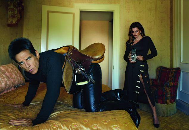 Ben Stiller in Phineas Cole and Roberto Cavalli, Penélope Cruz in Altuzarra (Photo: Courtesy Vogue).