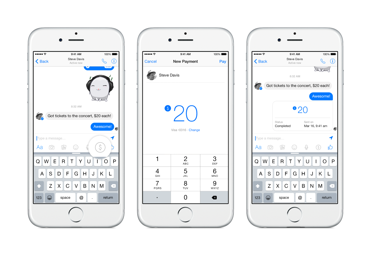 Once payments have been set up in Facebook Messenger, they can be used with bots