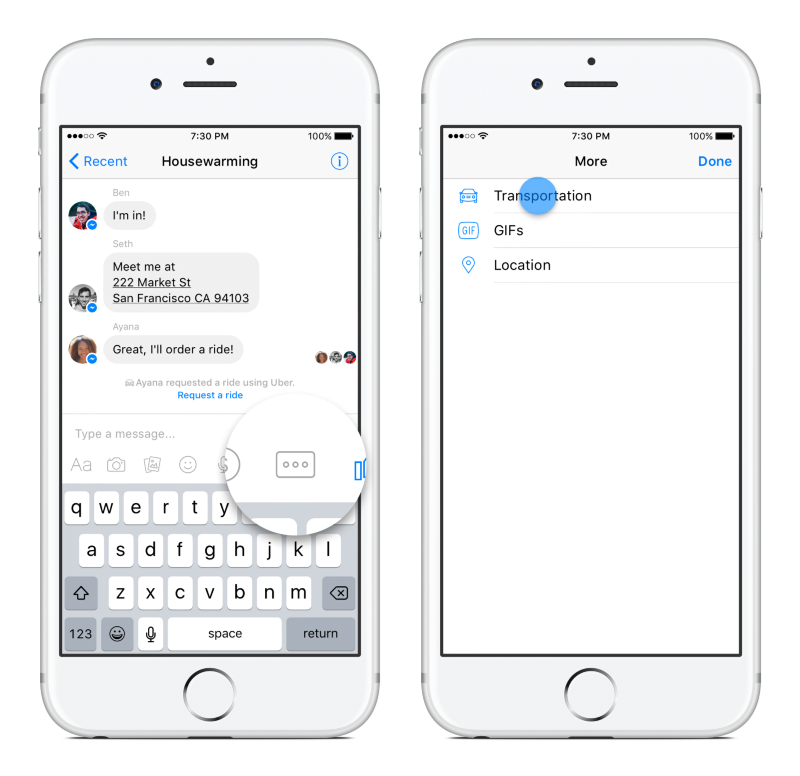 Accessing Transportation within Facebook Messenger