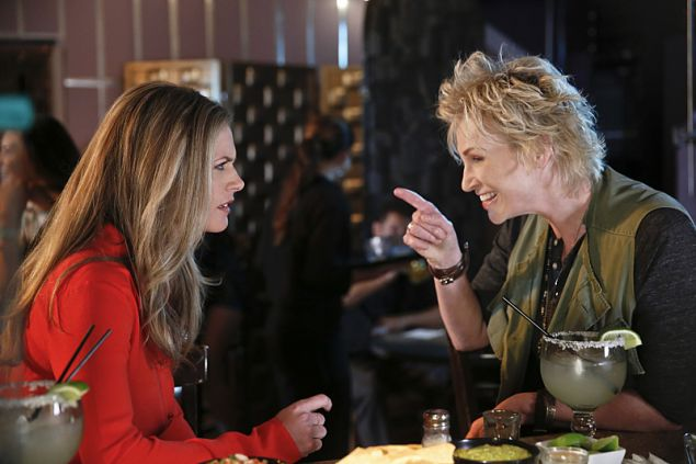 "ANGEL FROM HELL, starring Jane Lynch (right), is CBS's new single camera comedy about Amy (Lynch), a colorful, brassy woman who insinuates herself into Allison's (Maggie Lawson, left) organized and seemingly perfect life, claiming to be her ""guardian angel."" ANGEL FROM HELL premieres Thursday January 7, (9:30-10:00 PM, ET/PT) on the CBS Television Network. Photo: Cliff Lipson/CBS ©2015 CBS Broadcasting, Inc. All Rights Reserved."