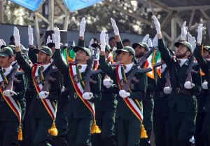 Iranian elite revolutionary guards march during an annual military parade which marks Iran's eight-year war with Iraq, in the capital Tehran on September 22, 2011. AFP PHOTO/ATTA KENARE (Photo credit should read ATTA KENARE/AFP/Getty Images)