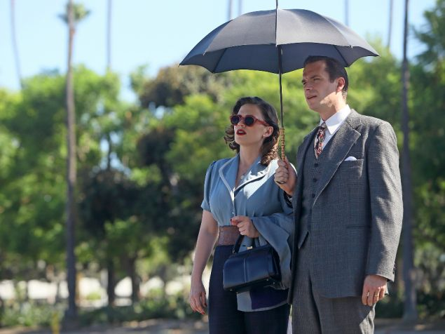 "MARVEL'S AGENT CARTER - ""The Lady in the Lake"" - In the season premiere episode, ""The Lady in the Lake,"" Peggy moves to the City of Angels to help Chief Daniel Sousa at the West Coast Strategic Scientific Reserve (SSR) investigate a bizarre homicide involving an alleged killer and Isodyne Energy, and reunites with some familiar faces. ""Marvel's Agent Carter"" returns for a second season of adventure and intrigue, starring Hayley Atwell in the titular role of the unstoppable agent for the SSR (Strategic Scientific Reserve), TUESDAY, JANUARY 19 (9:00-10:00 p.m. EST) on the ABC Television Network. (ABC/Patrick Wymore) HAYLEY ATWELL, JAMES D'ARCY"