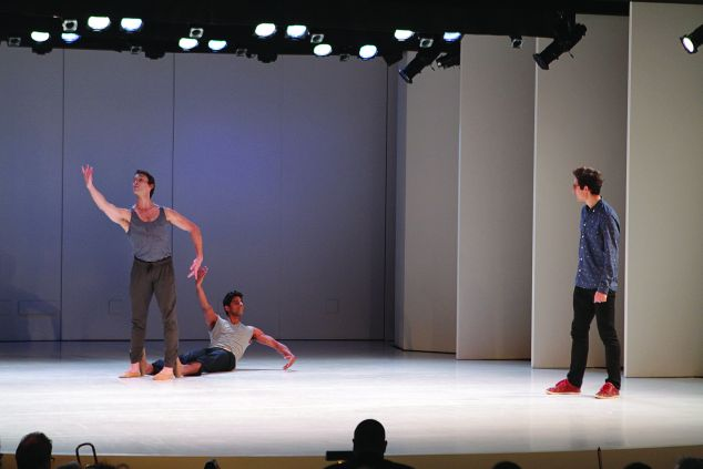 Adrian Danchig-Waring and Amar Ramasar being coached by Justin Peck at Works & Process. (Photo: Jacklyn Meduga, Guggenheim Museum)