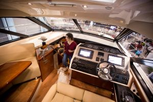 All aboard the 51-foot Sea Ray 510 Sundancer, the largest craft at the boat show. Photo: Michael Nagle for Observer