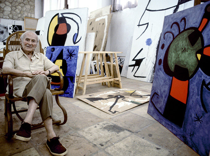 Joan Miró in his original Majorca studio. (Photo: Courtesy of the Fundació Pilar i Joan Miró in Majorca and Mayoral)