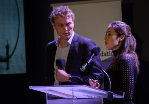 Sam Corbett-Davis and Camelia Simoiu at the Knight News Challenge awards presentation in New York City. (Photo: John S. and James L. Knight Foundation)