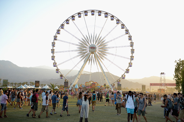 INDIO, CA - APRIL 11: Ferris wheel is seen during day 2 of the 2015 Coachella Valley Music & Arts Festival (Weekend 1) at the Empire Polo Club on April 11, 2015 in Indio, California. (Photo by Matt Cowan/Getty Images)